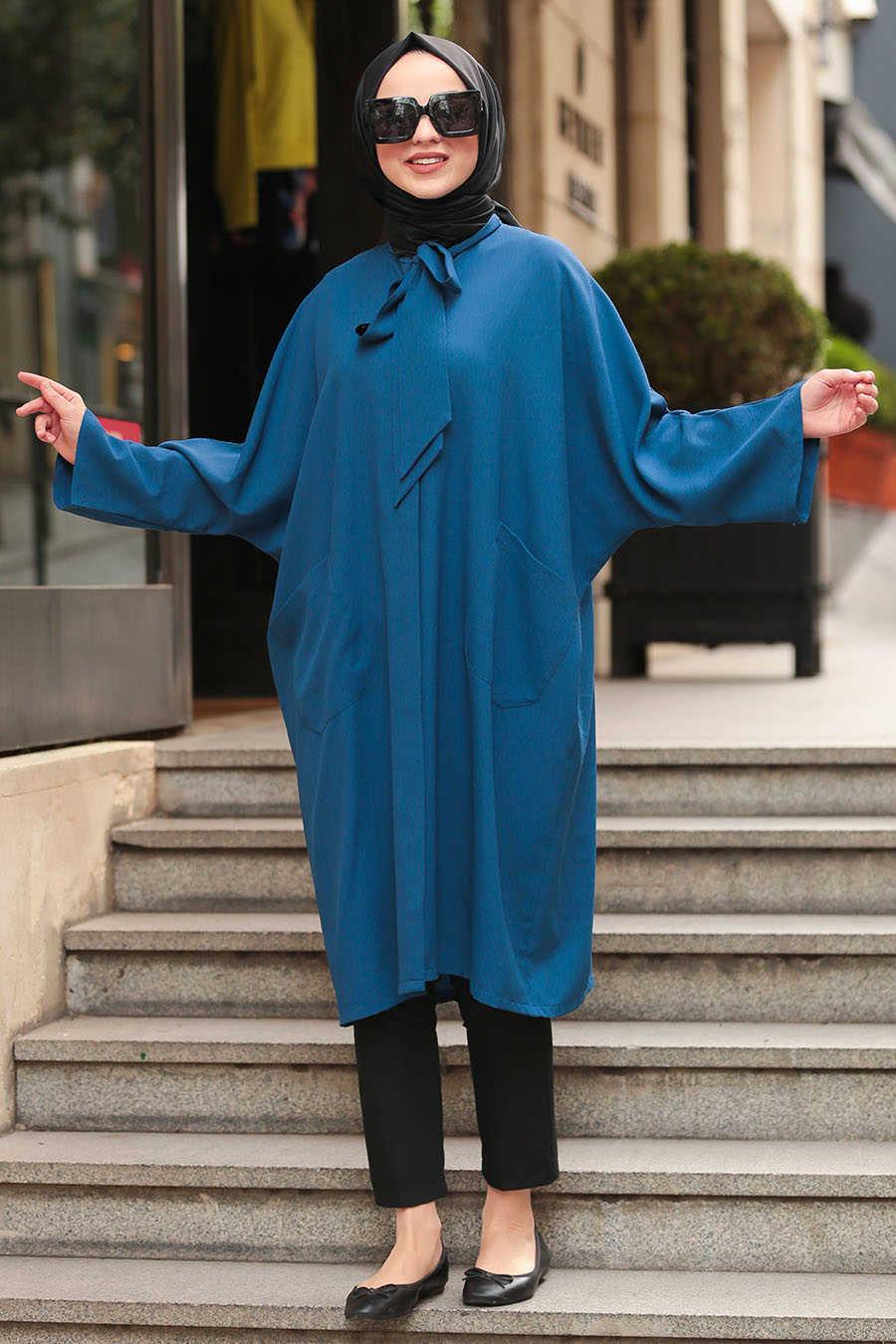 Neva Style - Indigo Blue Hijab Tunic 5003IM