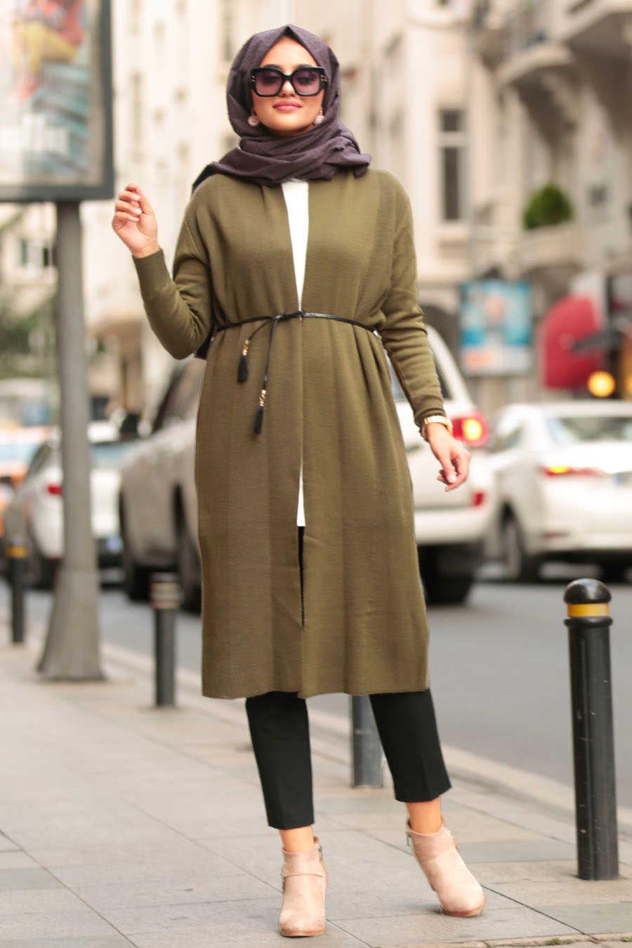 Neva Style - Khaki Hijab Cardigan 15426HK
