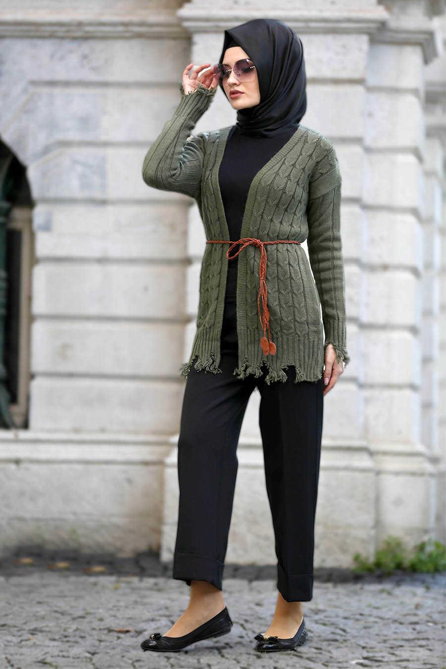 Neva Style - Khaki Hijab Cardigan 41390HK