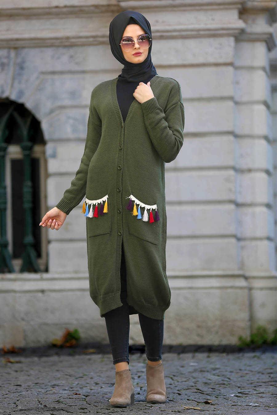 Neva Style - Khaki Hijab Cardigan 41850HK
