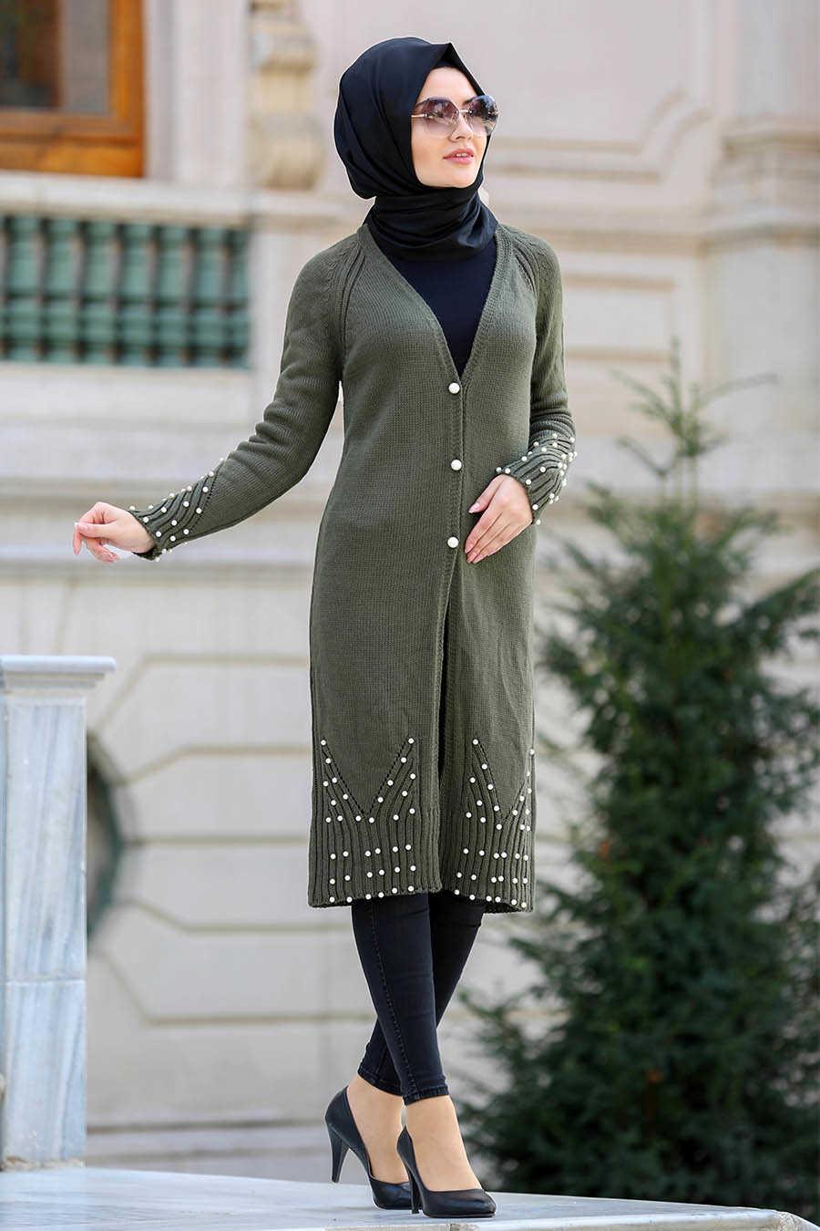 Neva Style - Khaki Hijab Cardigan 41880HK