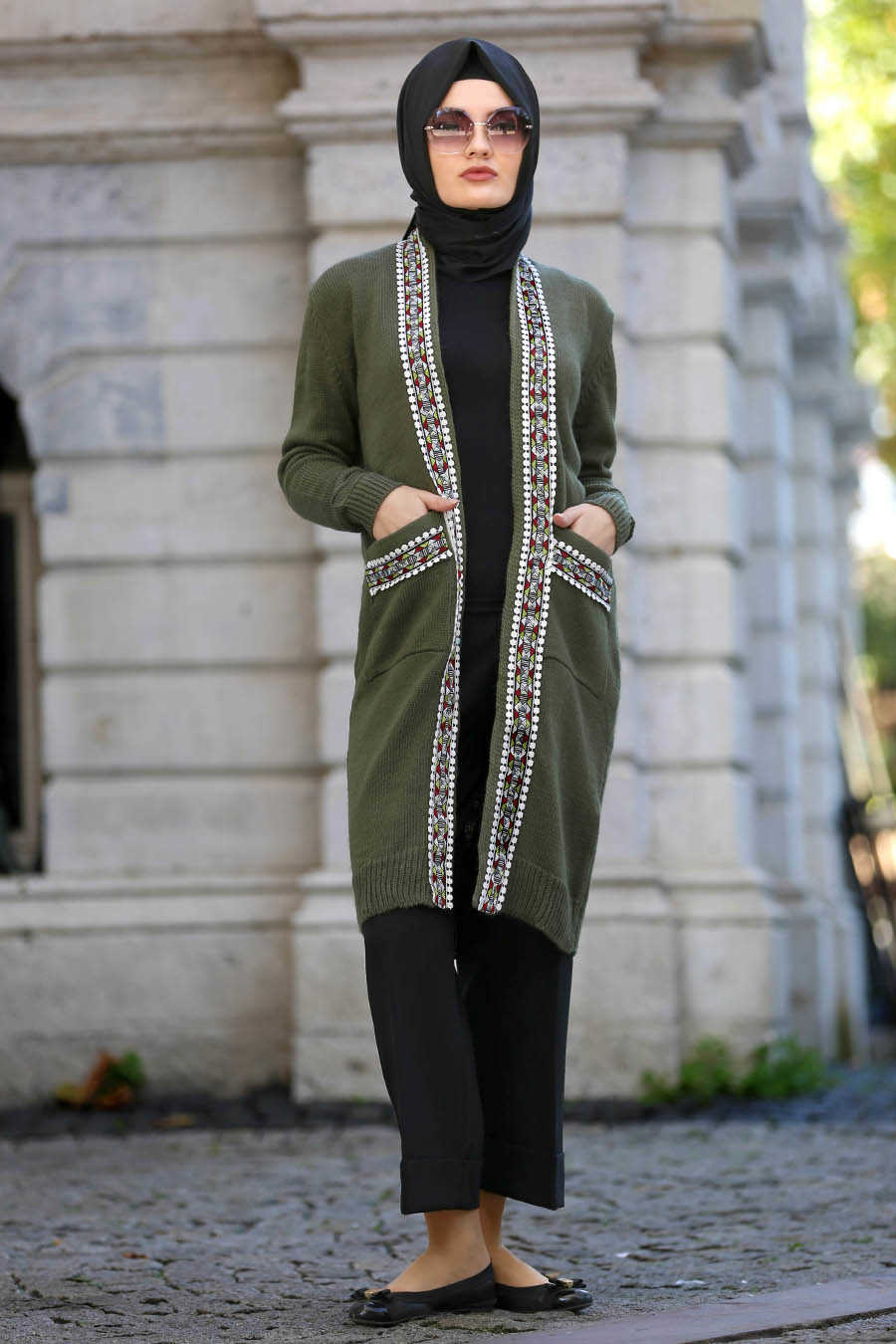 Neva Style - Khaki Hijab Cardigan 42560HK