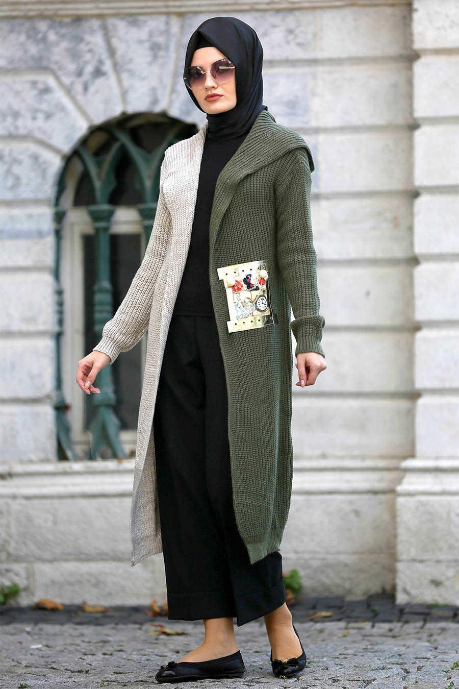Neva Style - Khaki Hijab Cardigan 42720HK