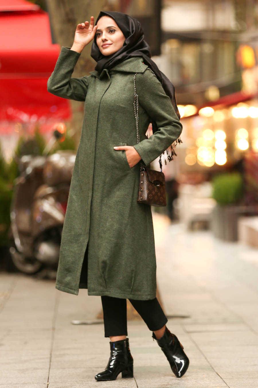 Neva Style - Khaki Hijab Coat 2453HK