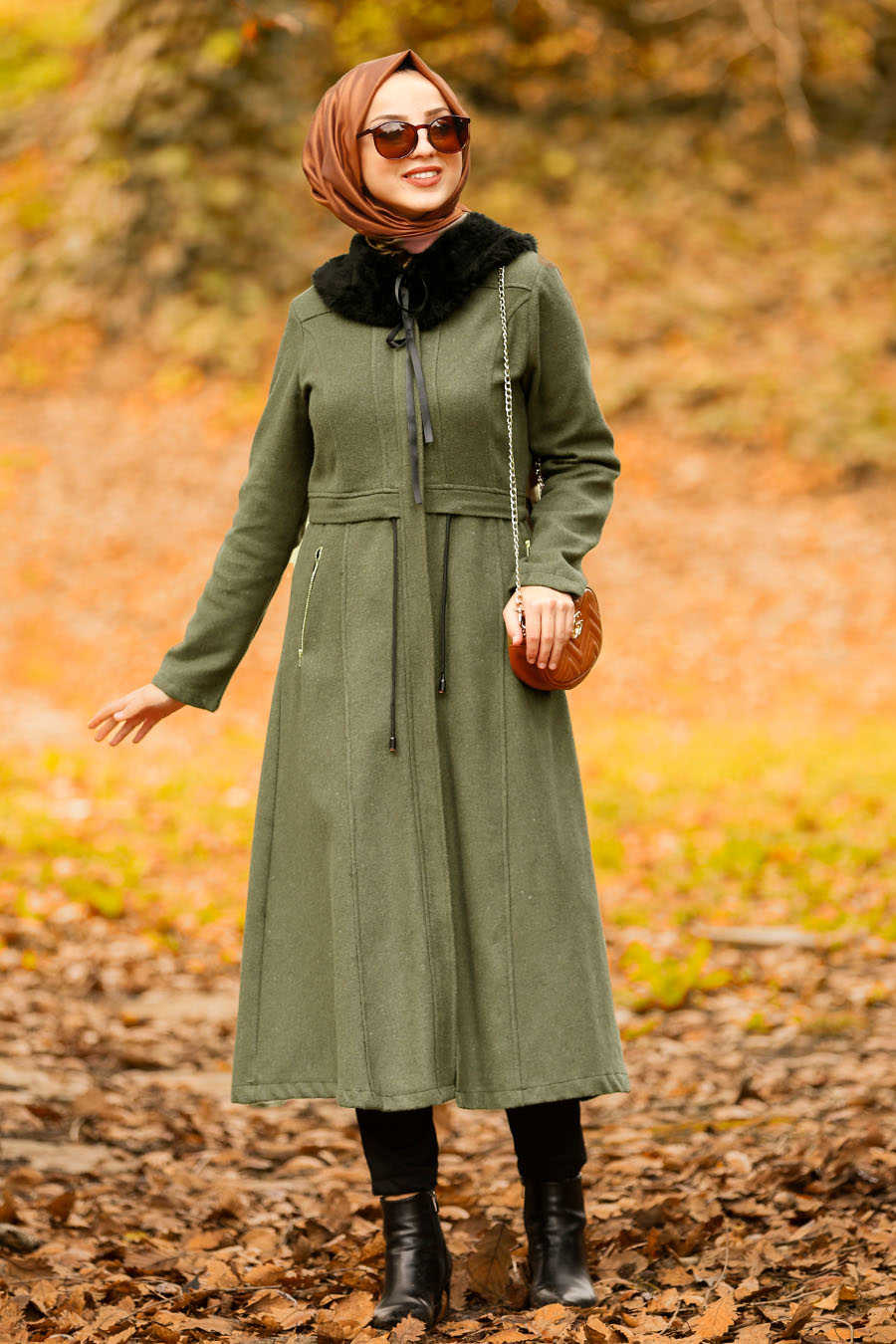 Neva Style - Khaki Hijab Coat 40261HK