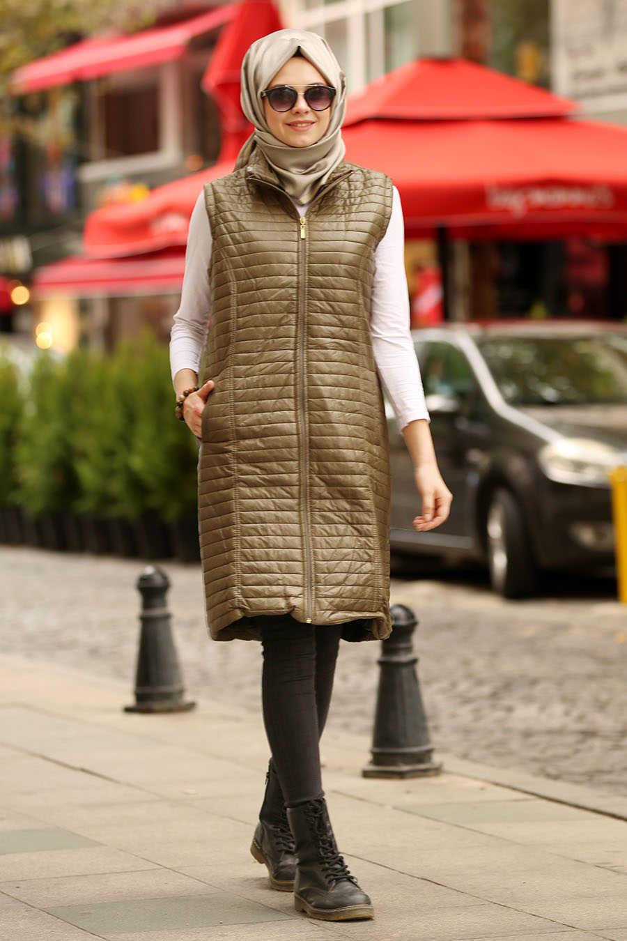 Neva Style - Khaki Hijab Coat 5001HK