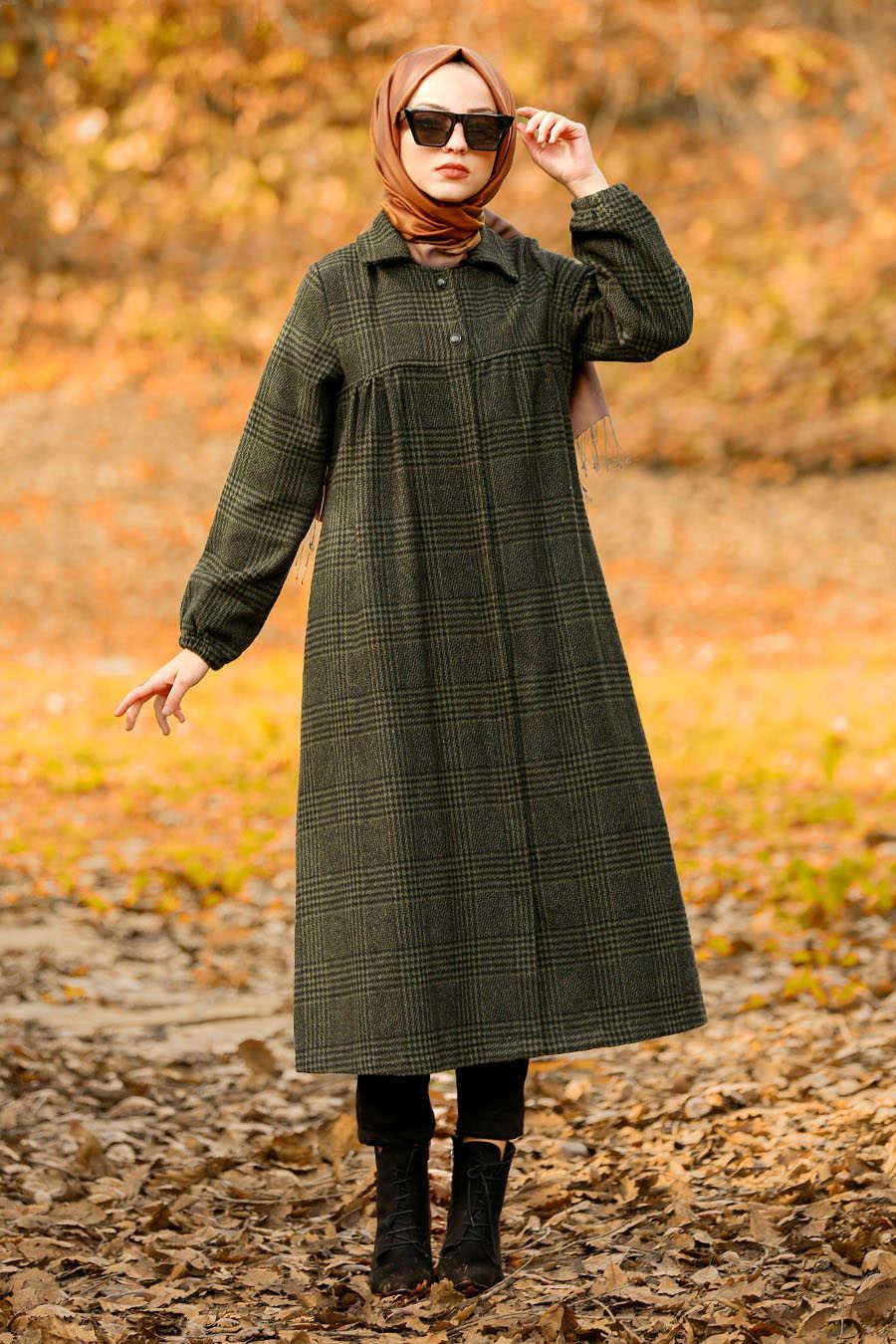 Neva Style - Khaki Hijab Coat 5407HK