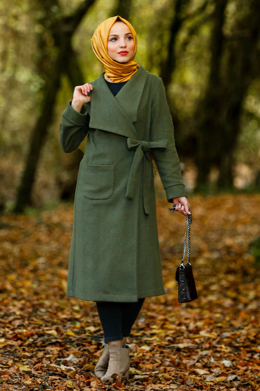 Neva Style - Khaki Hijab Coat 5415HK