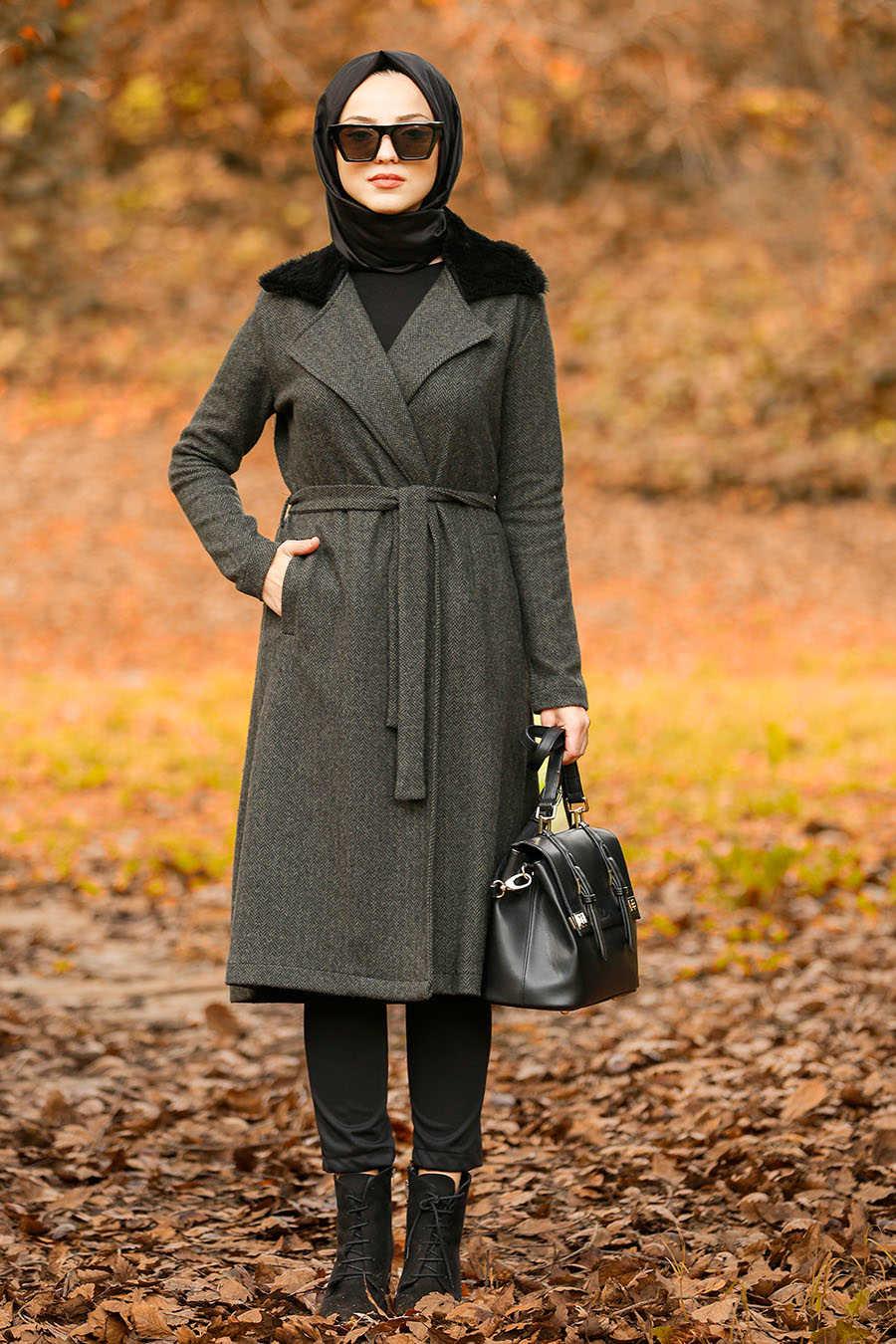Neva Style - Khaki Hijab Coat 5416HK