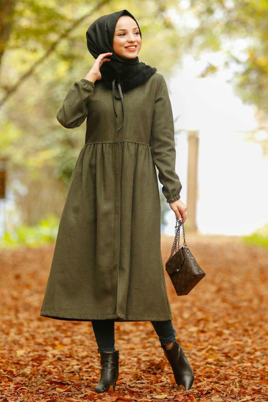 Neva Style - Khaki Hijab Coat 9081HK