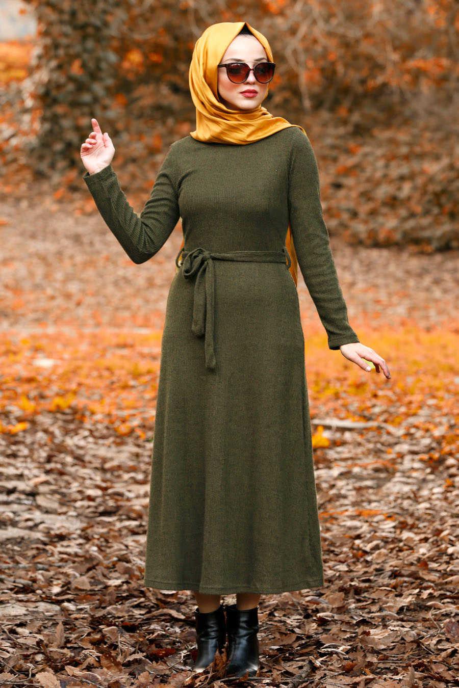 Neva Style - Khaki Hijab Dress 1602HK