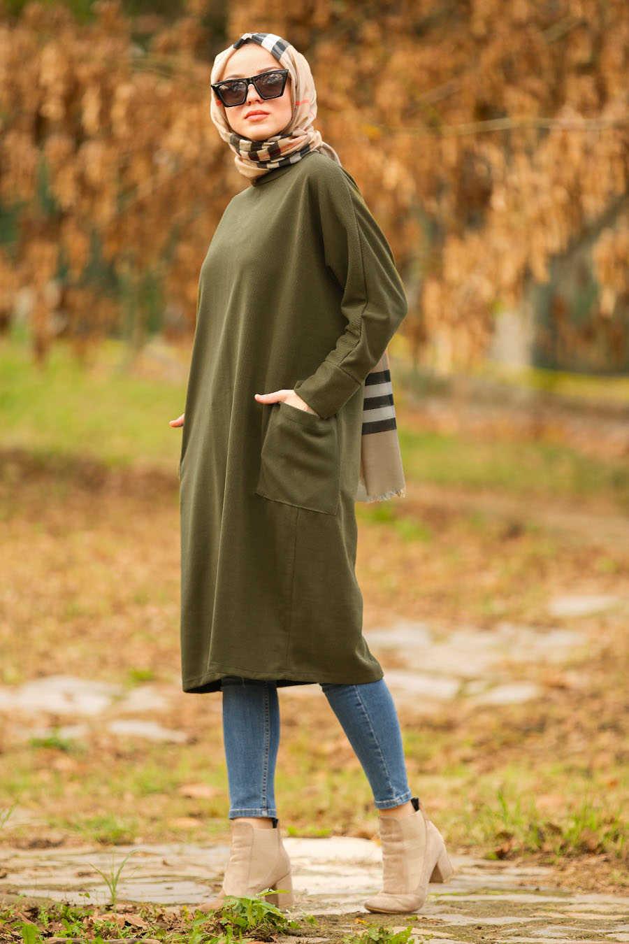 Neva Style - Khaki Hijab Tunic 40301HK