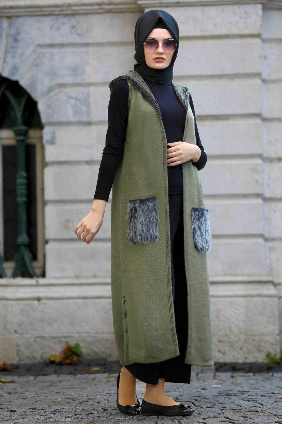Neva Style - Khaki Hijab Vest 61160HK