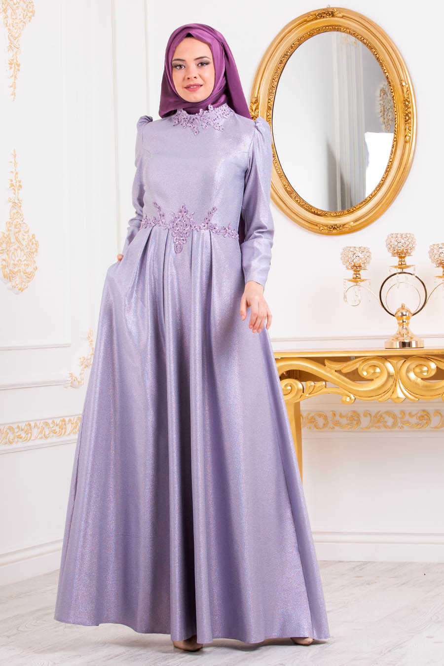 Neva Style - Lila Hijab Evening Dress 36550LILA