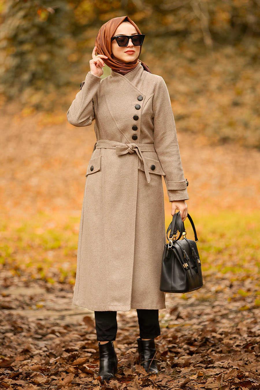 Neva Style - Mink Hijab Coat 4420V