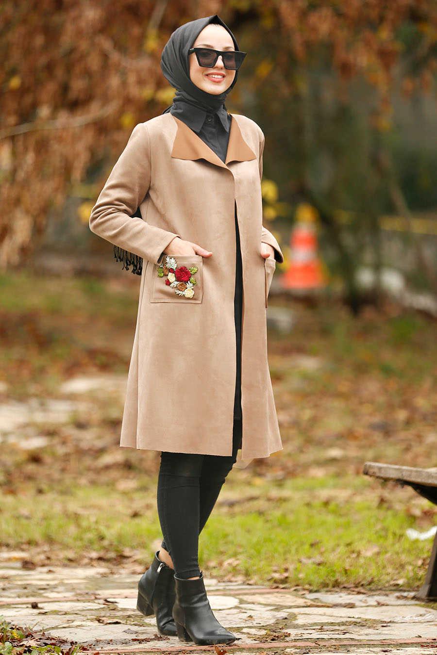 Neva Style - Mink Hijab Coat 53110V