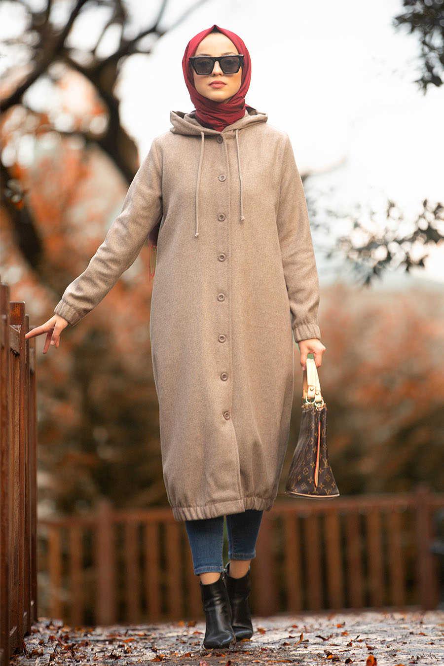 Neva Style - Mink Hijab Coat 5403V