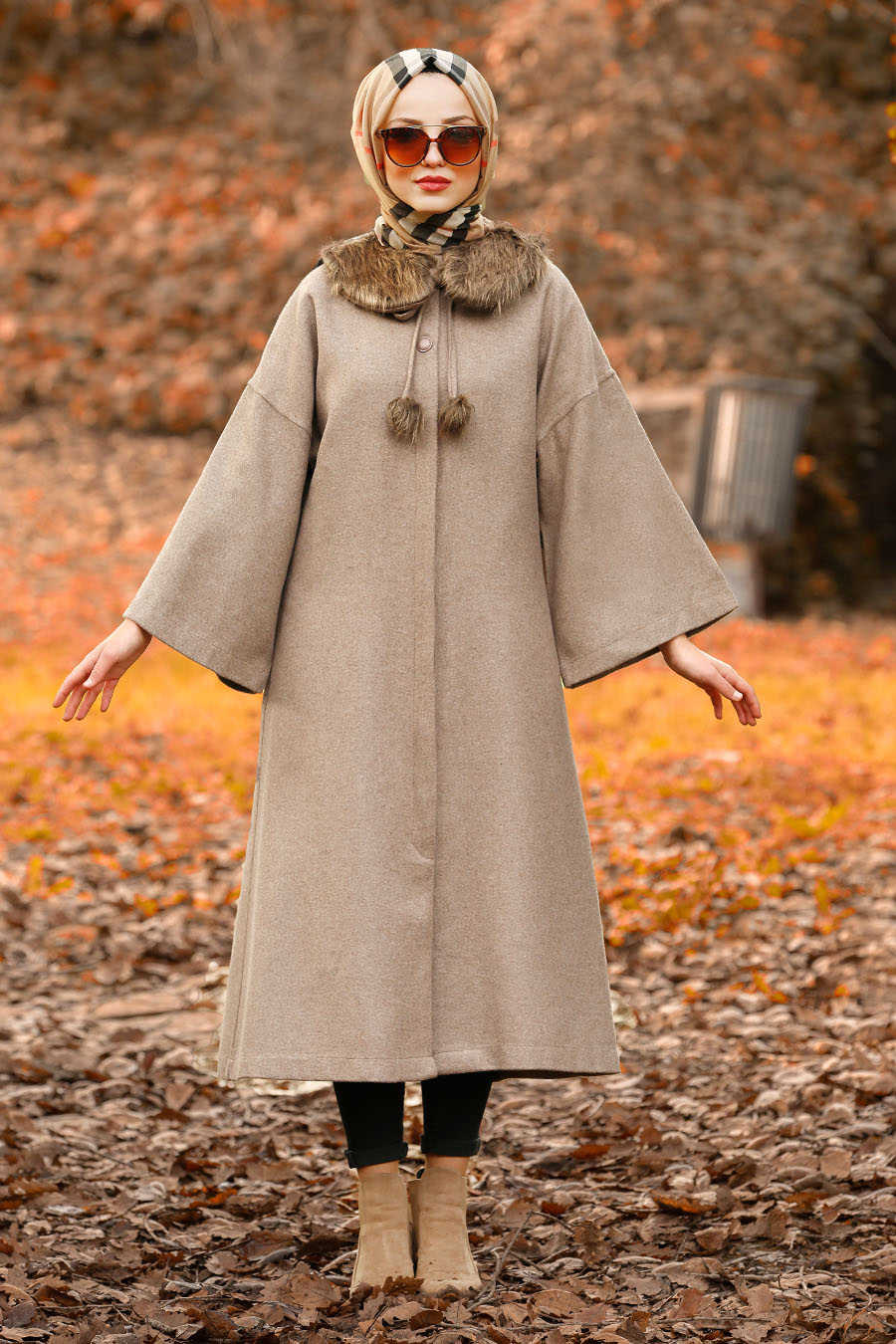 Neva Style - Mink Hijab Coat 5412V