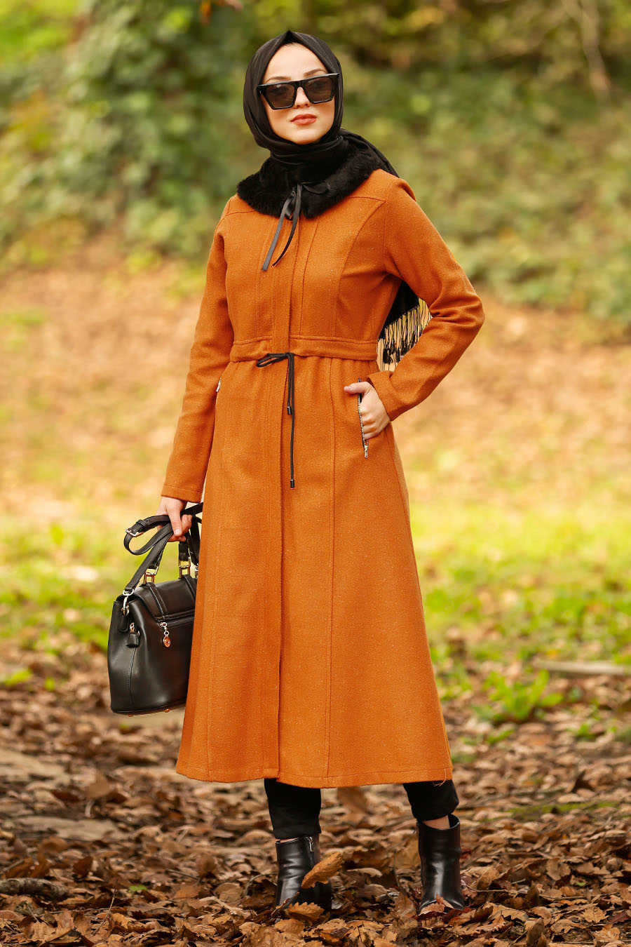 Neva Style - Mustard Hijab Coat 40261HR