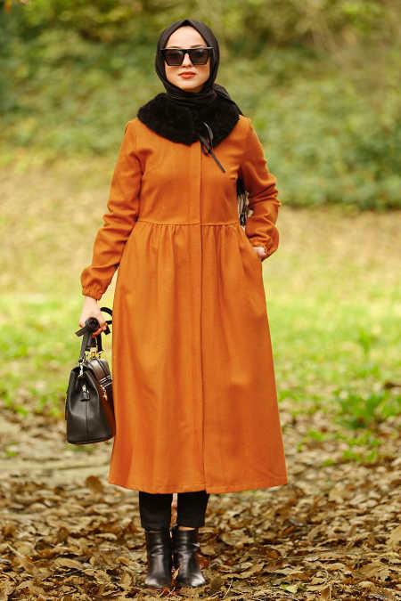 Neva Style - Mustard Hijab Coat 9081HR