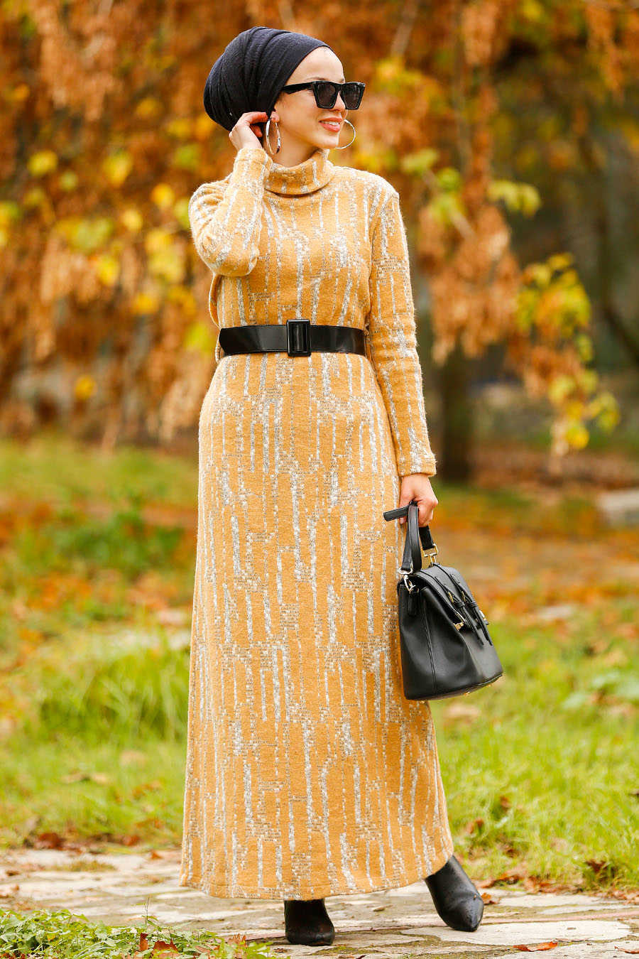 Neva Style - Mustard Hijab Dress 4248HR