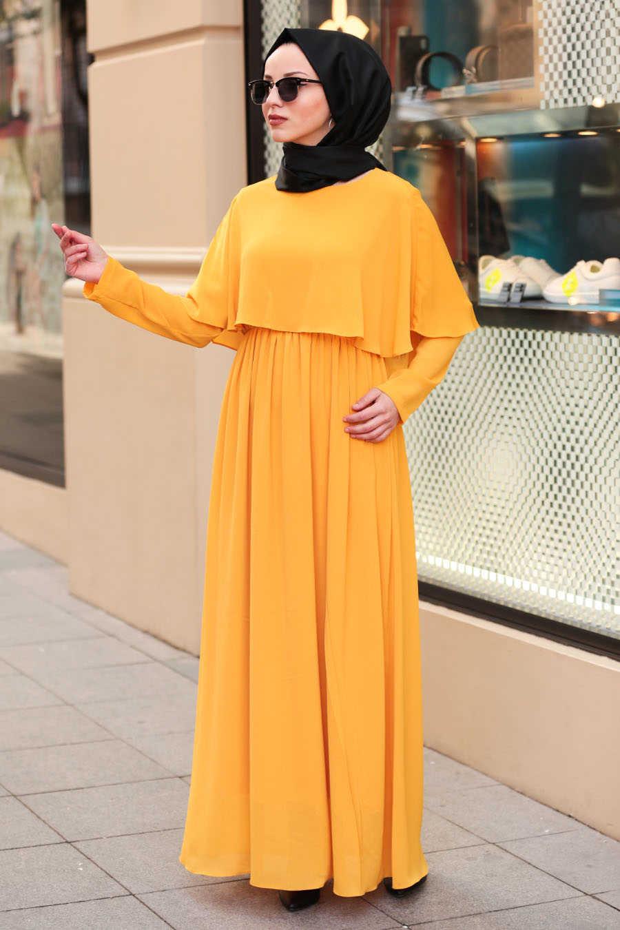 Neva Style - Mustard Hijab Dress 6124HR