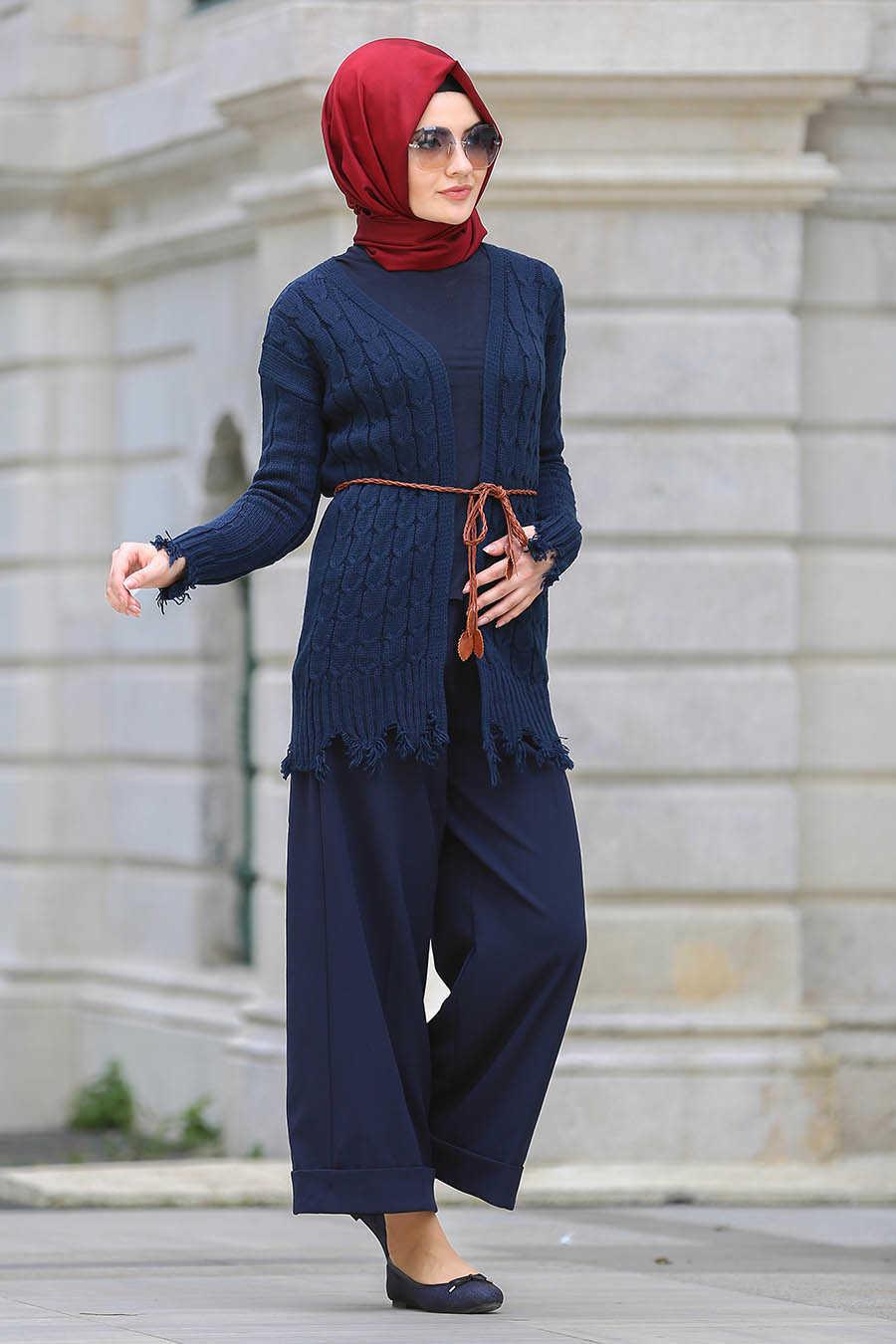 Neva Style - Navy Blue Hijab Cardigan 41390L