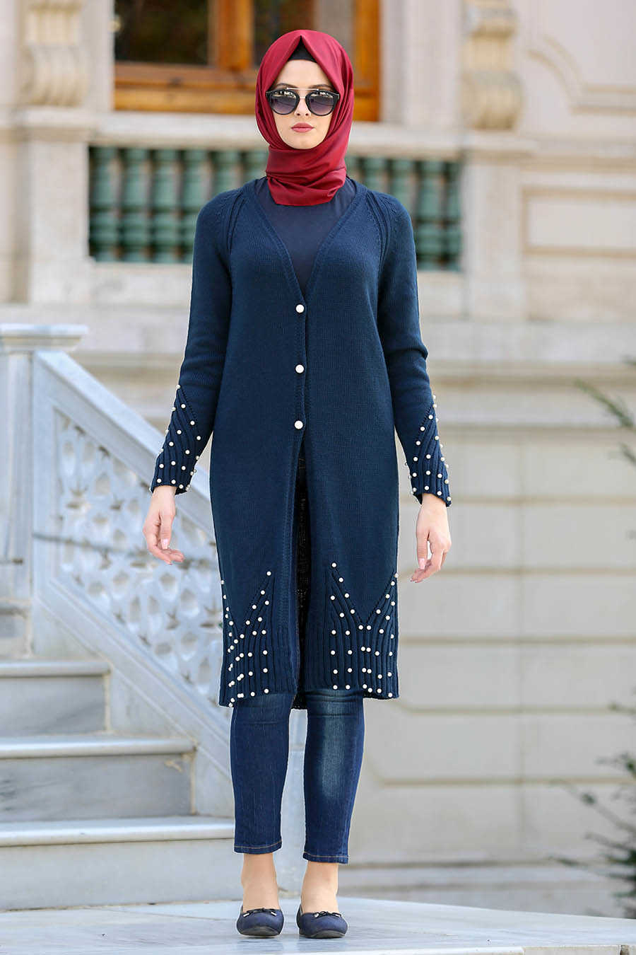 Neva Style - Navy Blue Hijab Cardigan 41880L