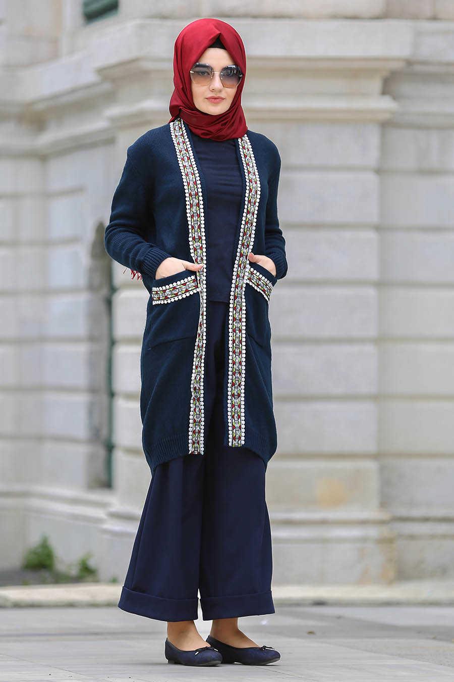 Neva Style - Navy Blue Hijab Cardigan 42560L