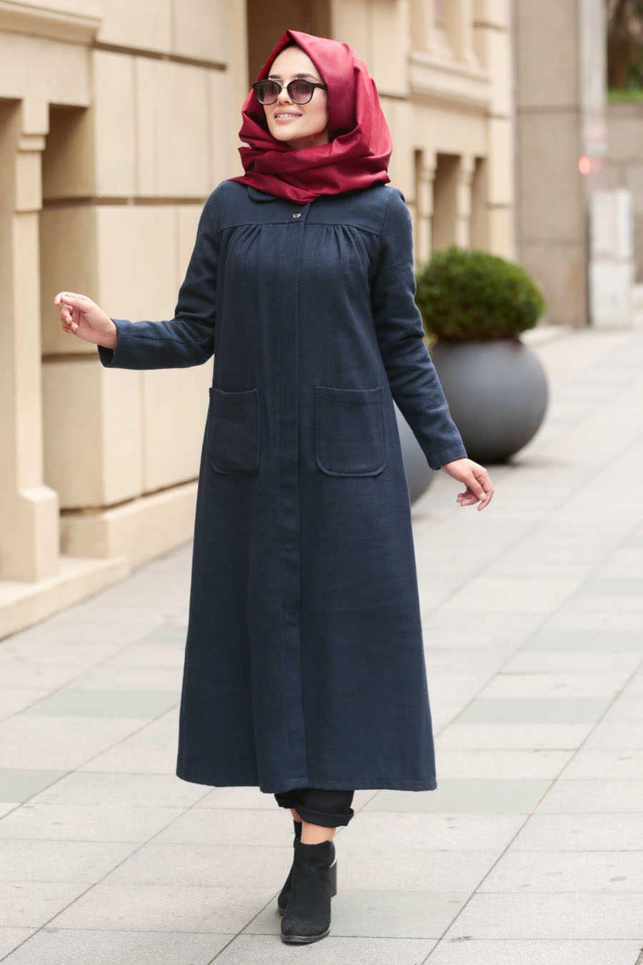Neva Style - Navy Blue Hijab Coat 2445L