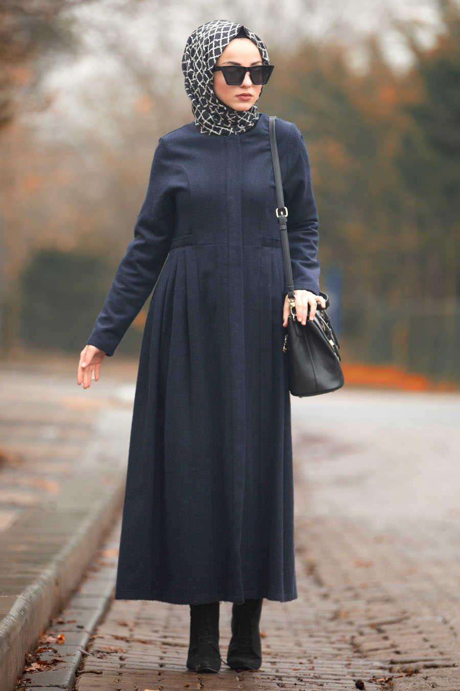 Neva Style - Navy Blue Hijab Coat 2446L