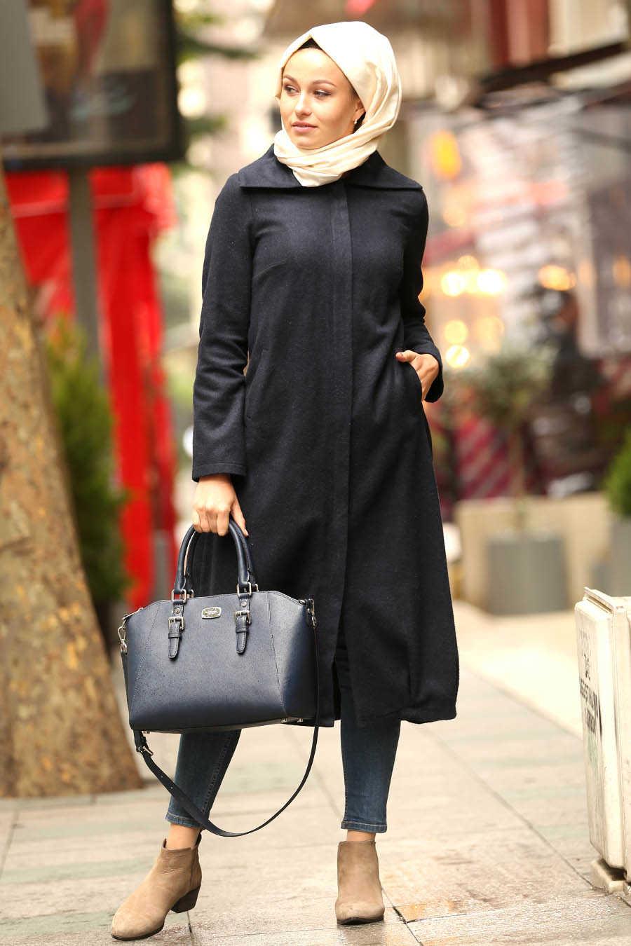 Neva Style - Navy Blue Hijab Coat 2453L