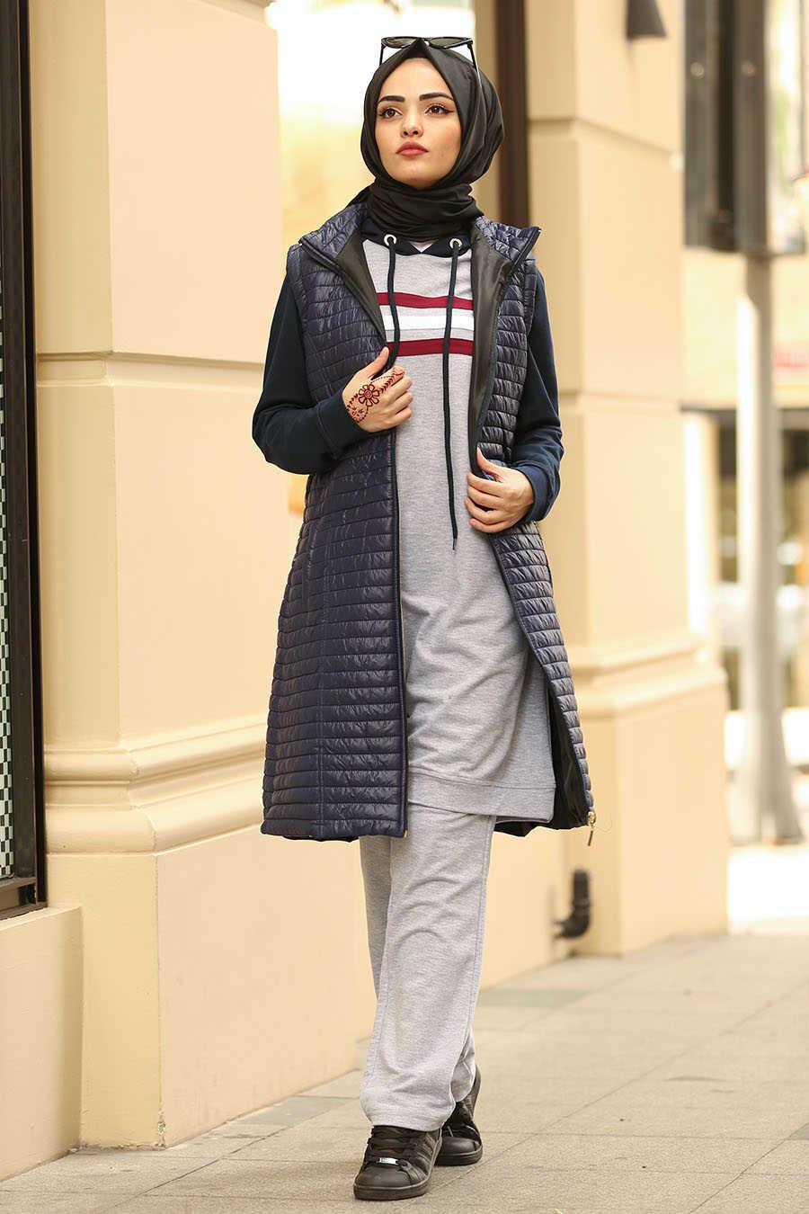 Neva Style - Navy Blue Hijab Coat 5001L