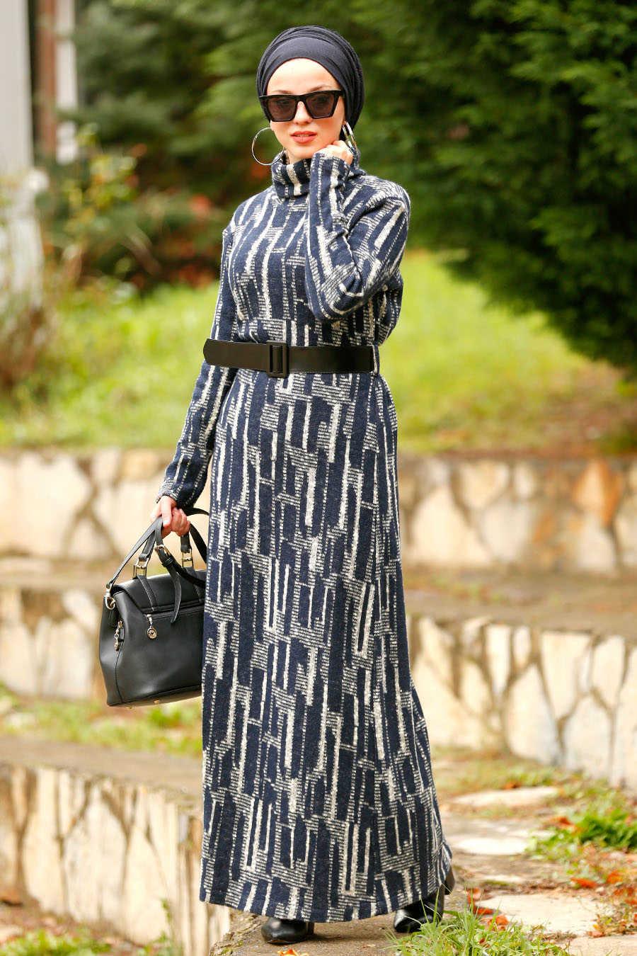 Neva Style - Navy Blue Hijab Dress 4248L