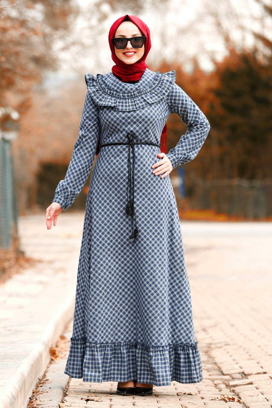 Neva Style - Navy Blue Hijab Dress 83482L