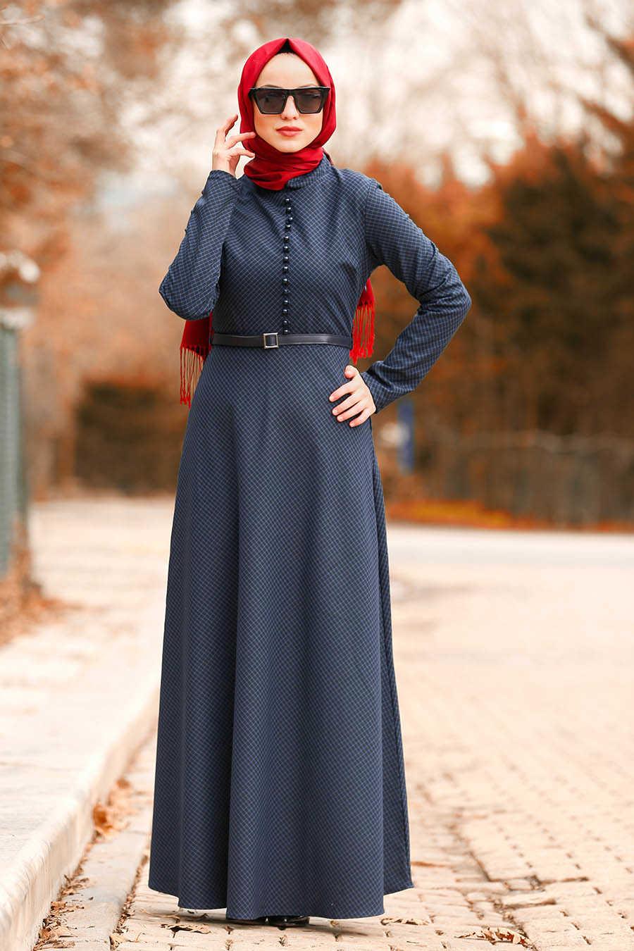 Neva Style - Navy Blue Hijab Dress 8440L