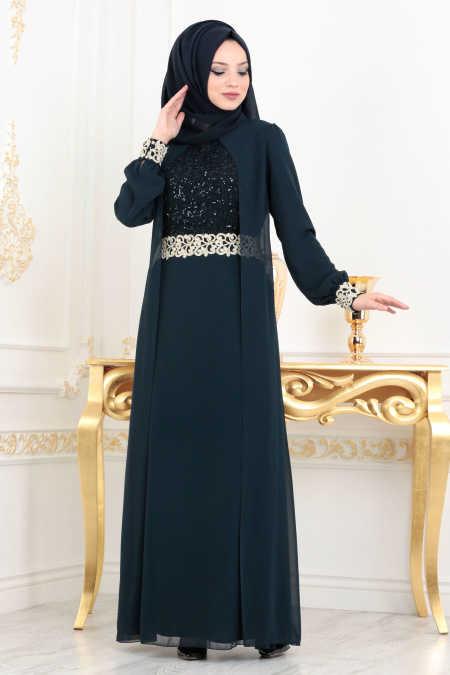 Neva Style - Navy Blue Hijab Evening Dress 25700L