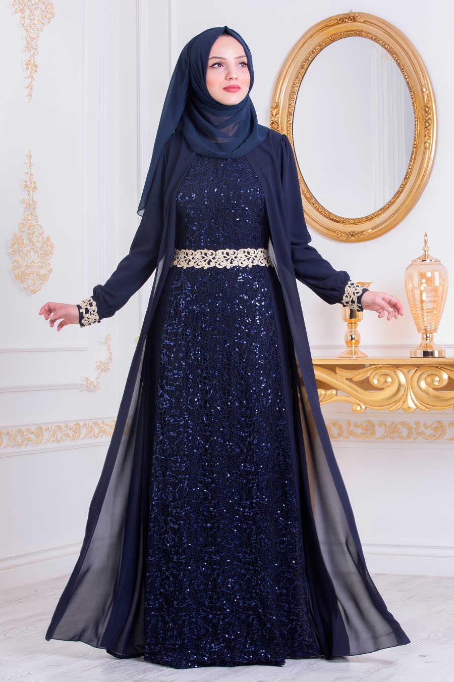 Neva Style - Navy Blue Hijab Evening Dress 25717L