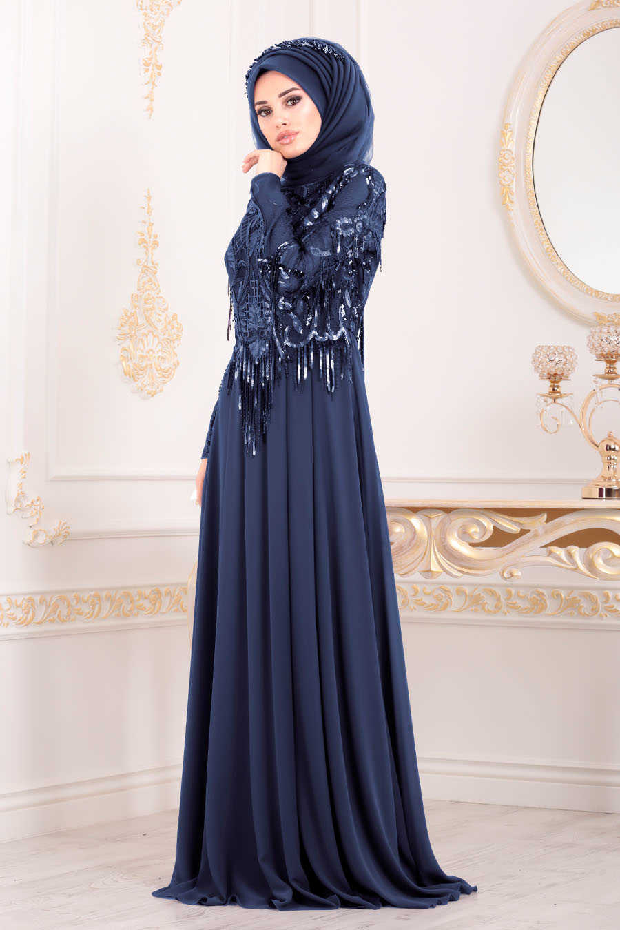 Neva Style - Navy Blue Hijab Evening Dress 4591L