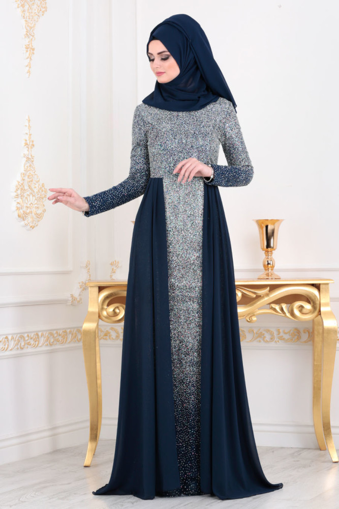 Neva Style - Navy Blue Hijab Evening Dress 90020L - Thumbnail
