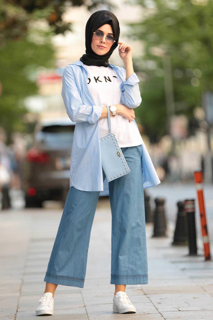 Neva Style - Navy Blue Hijab Pants 90890L
