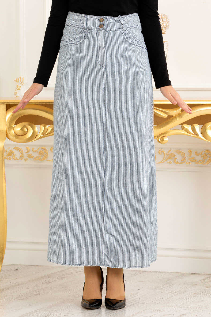 Neva Style - Navy Blue Hijab Skirt 30202L