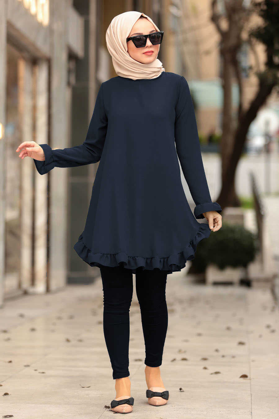 Neva Style - Navy Blue Hijab Tunic 10130L