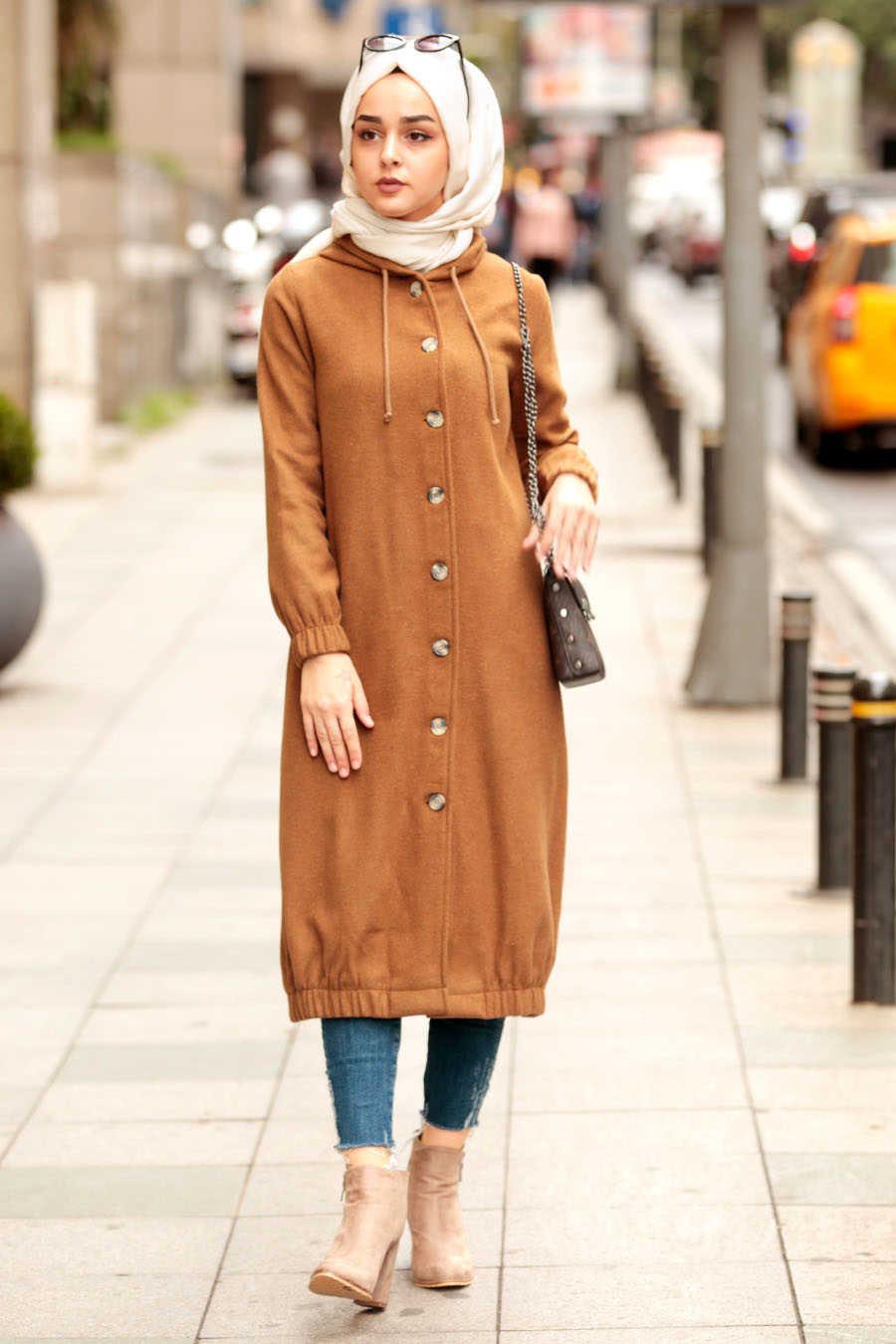 Neva Style - Orange Hijab Coat 5403T
