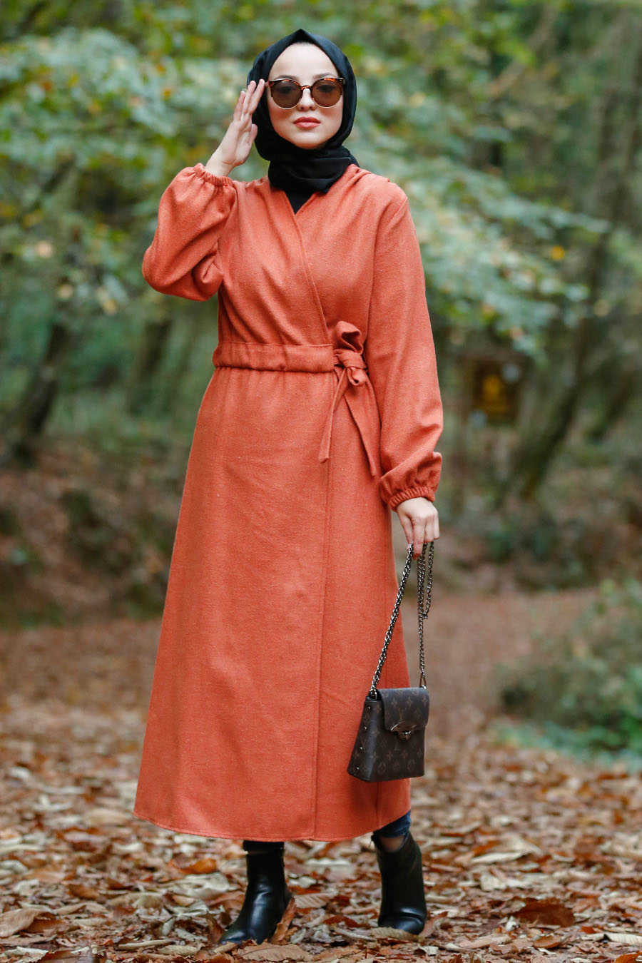 Neva Style - Orange Hijab Coat 5409T