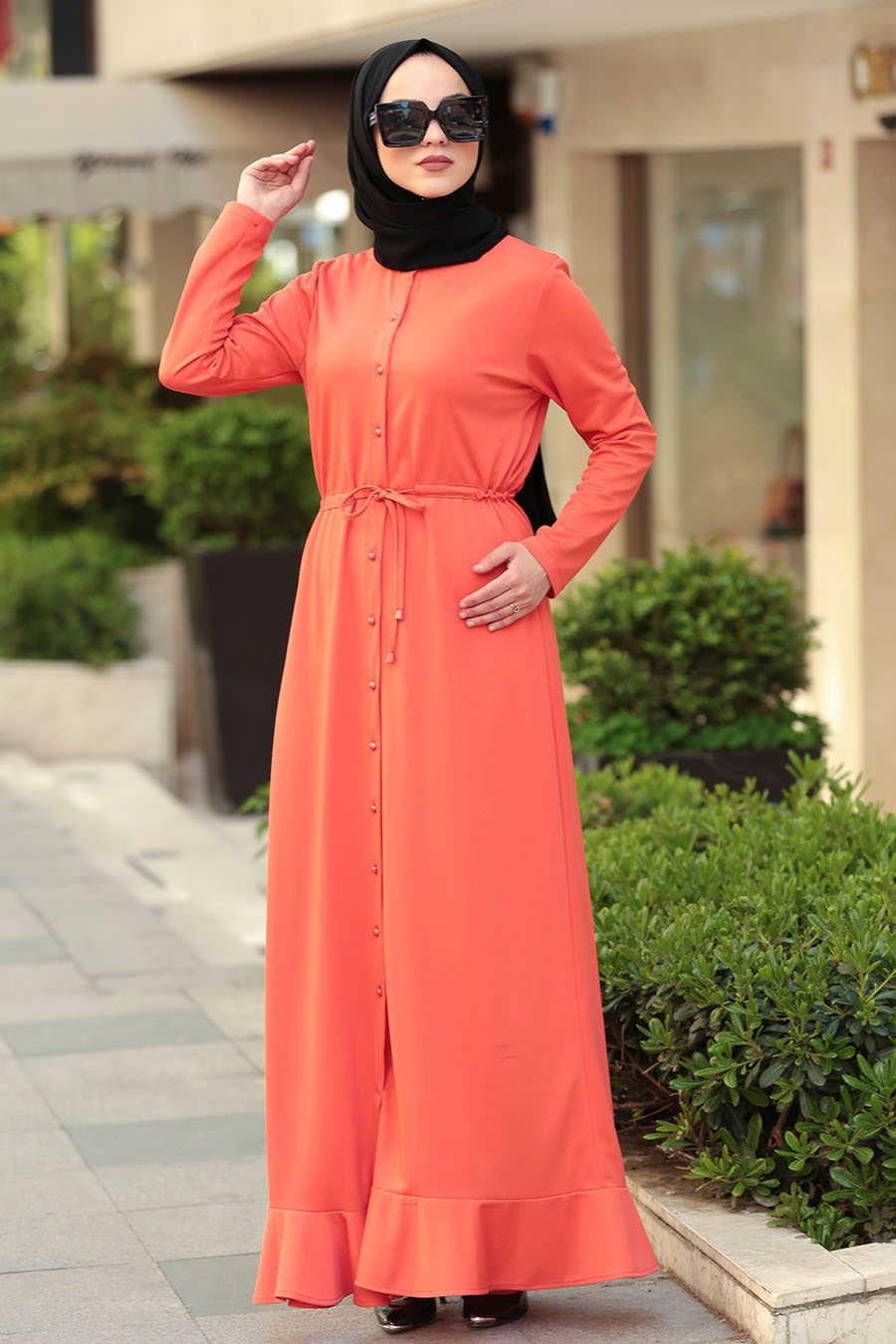 Neva Style - Orange Hijab Dress 42110T