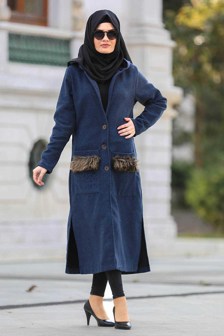 Neva Style - Petrol Blue Hijab Cardigan 40083PM