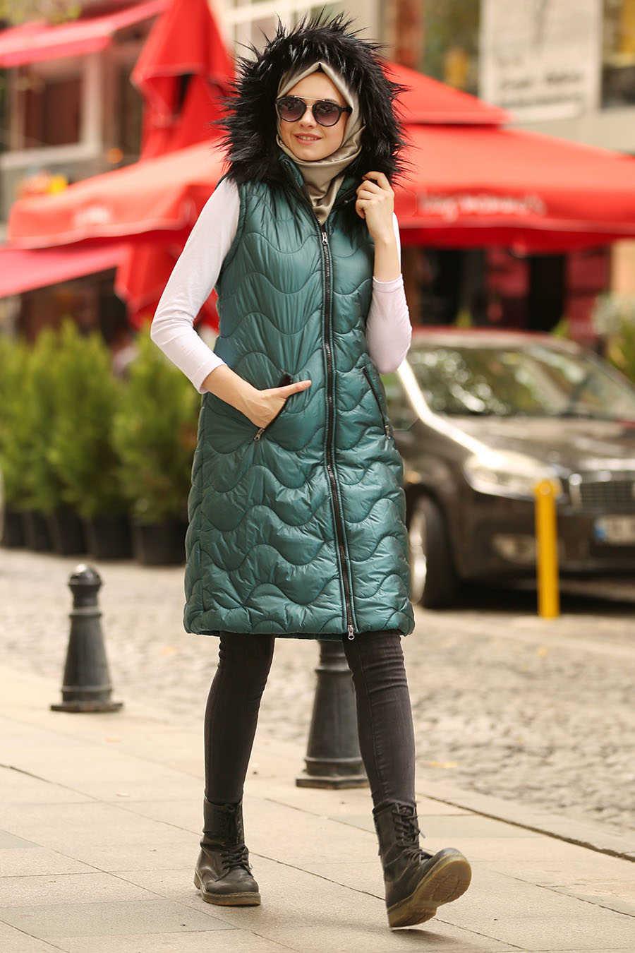 Neva Style - Petrol Green Hijab Coat 5005PY