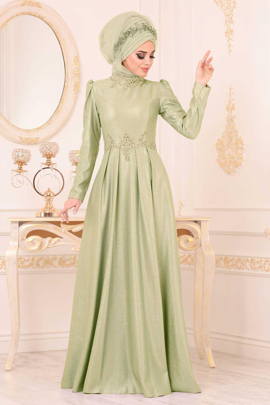 Neva Style - Pistachio Green Hijab Evening Dress 36550FY