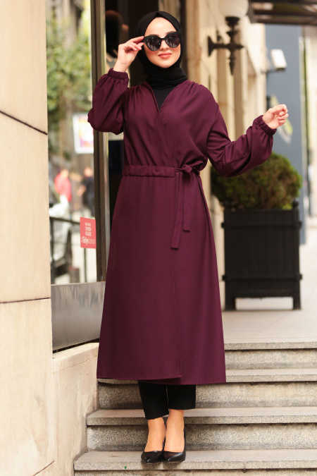 Neva Style - Plum Color Hijab Abaya 5466MU